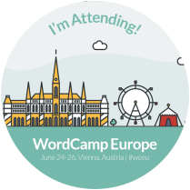 Image if a badge showing that Mainplus Technology are attending WordPress Europe in Vienna 2016